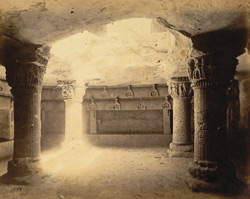 Interior of Buddhist Cave Temple on the Uparkot, Junagadh